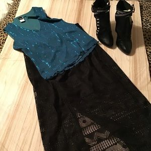 Long black lace maxi skirt